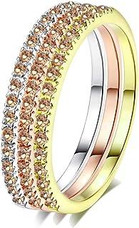 CCBFY 18 قيراط مجموعة خواتم خترقة قابلة للصف من 3 قطع من الماس المقلَّد المطلي بالذهب الأصفر/البلاتين