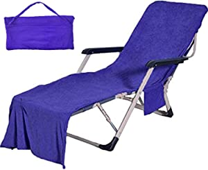 VOCOOL Chaise Lounge Pool Chair Cover Beach Towel Fitted Elastic Pocket Won't Slide (Dark Blue)