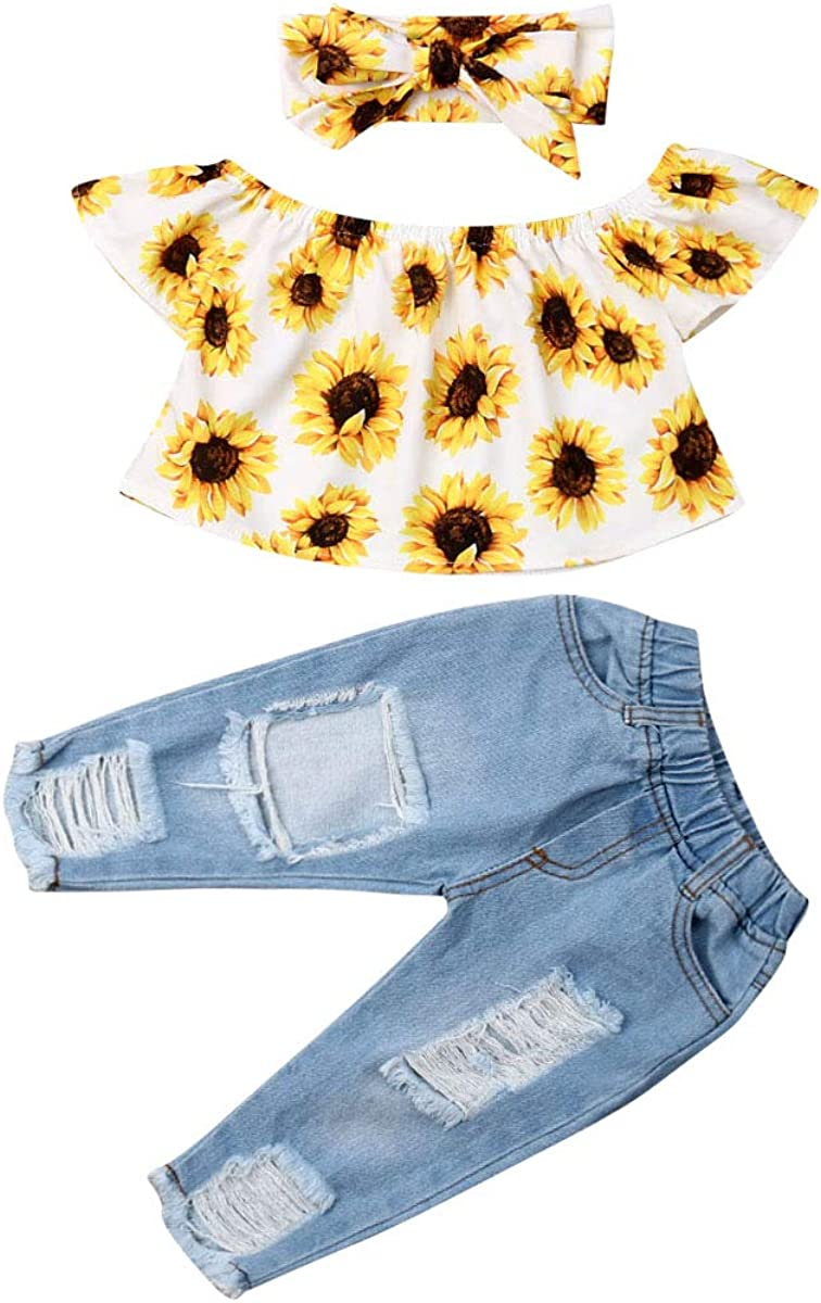 Toddler Baby Girl Off Shoulder Sunflower Shirts Top Blouse Denim Ripped Jeans Pants Outfits Clothes Sets (White, 12-18 Months)