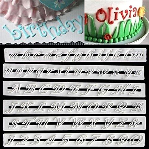 Lot de 6 moules lettres de l'alphabet et nombres, décoration pour fondant, pâte à sucre