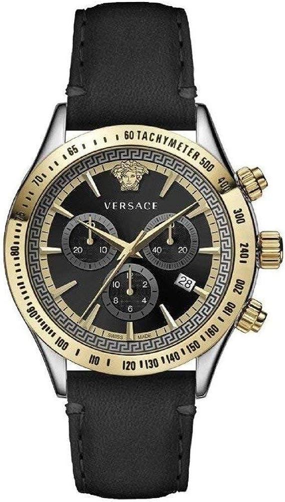 Versace chrono classic,orologio,cronografo per donna,cassa in acciaio inossidabile,cinturino in pelle 7630030559679