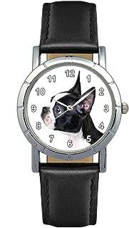 Timest - Boston Terrier - Womens Wrist Watch with Leather Strap in Black Round Analog Quartz SA2190