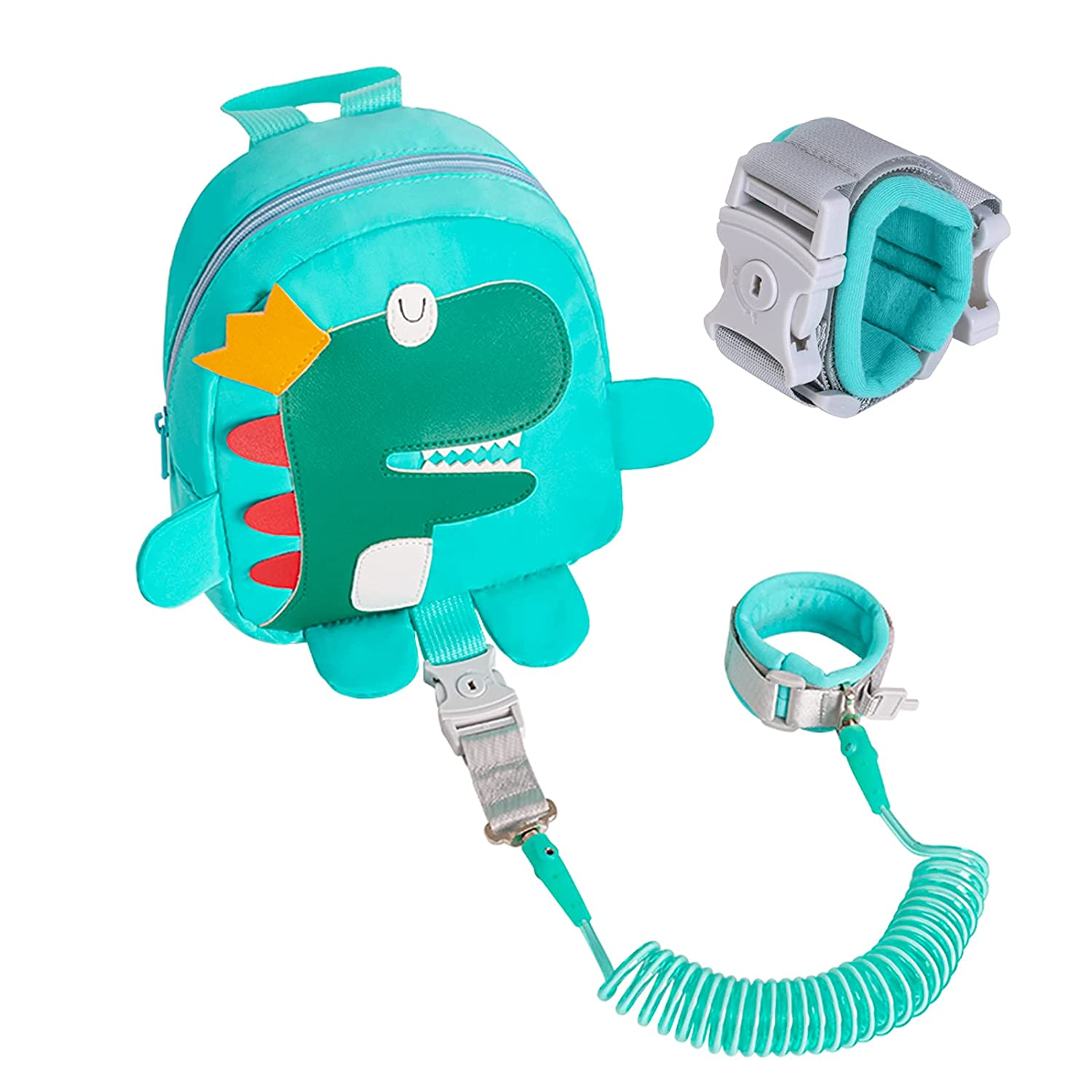 Cute Backpack Anti-Lost Rope,Toddler Safety Belt,Anti-Lost Rope Walking Safety Belt with Key Lock,Child Safety Belt,Baby Protection Belt,Length 8.2 feet,Dinosaur
