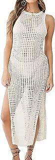 MeiLing Women's Sexy Crochet Hollow Out Long Beach Dress Knit Swimsuit Cover up Swimwear