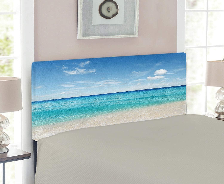 Lunarable Ocean Headboard for Twin Size Bed, Tropical Carribean Sea Shore Sand Beach bluee Calm Serene Peaceful Waters, Upholstered Decorative Metal Headboard with Memory Foam, bluee Aqua and White