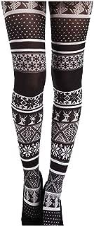 Malka Chic Fairisle Scandinavian Winter Holiday Christmas Print Tights Pantyhose Made in Italy