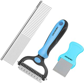 Iokheira Pet Grooming Tools Dematting Comb 2 Sided Undercoat Rake for Dogs & Cats with Medium Long Hair, Easy for Removing Mats Tangles and Shedding (3 Packs)