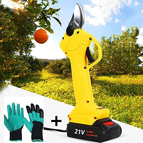 CHANGLI Cortador eléctrico de Alta Potencia para Rama de árbol frutal, Tijeras eléctricas inalámbricas, Hoja de Acero Fuerte de Tijera de 21 V Dentro de 30 mm para árboles de jardín