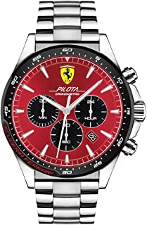 Ferrari Men's Pilota Quartz Stainless Steel and Bracelet Casual Watch, Color: Silver (Model: 830619)