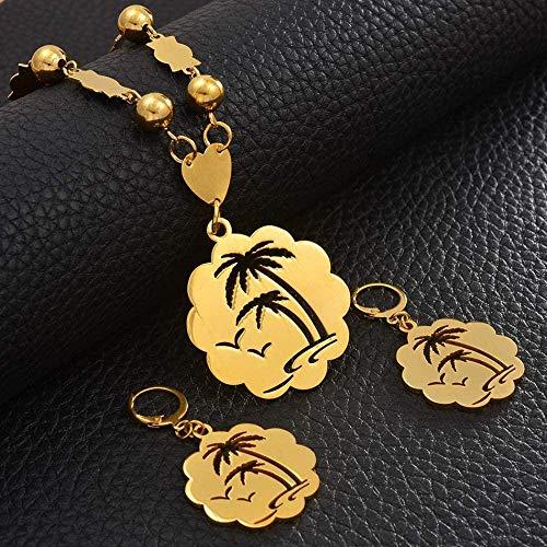 Mxdztu Co.,ltd Collar Árbol De Coco Colgante De Gran Tamaño con Bolas, Collar, Pendientes, Conjuntos para Mujer, Joyería De Color Dorado, Acero Inoxidable