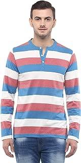 Men's Cotton Henley T-Shirt Stripes Summer tee