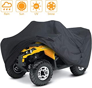 LotFancy Waterproof ATV Cover, Durable Univeral Heavy Duty Black Quad Protects 4 Wheeler from Sun Snow Rain UV(XL 98x47x45 inches)