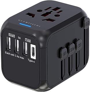 海外渡航用電源コンセント変換プラグ USBポート3つ有 Type-Cポート有 ACアダプター付属 多機能海外用充電器 AC100-250V 6.0A ヨーロッパ/アメリカ/イギリス/オーストラリア/韓国/中国等世界200ヶ国以上対応