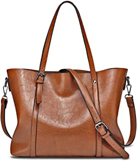 YALXUE Women's Soft Leather Tote Handbag Purse Shoulder Bag with Extra Wallet Brown