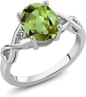 Gem Stone King 925 Sterling Silver Green Peridot and White Diamond Gemstone Birthstone 3-Stone Women's Ring (1.86 Cttw, Av...