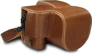 MegaGear MG1680 någonsin färdigt läderfodral kompatibelt med Leica V-Lux 5, Panasonic Lumix DC-FZ1000 II – ljusbrun
