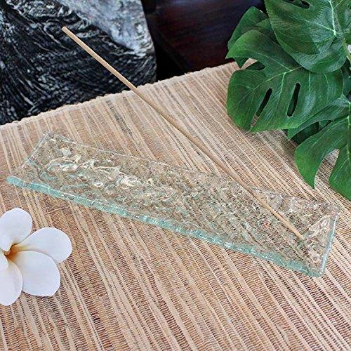 お香立て バリガラス プルメリア模様 お花 フランジパニ インテリア アジアン雑貨 リラクゼーション スパ バリ雑貨