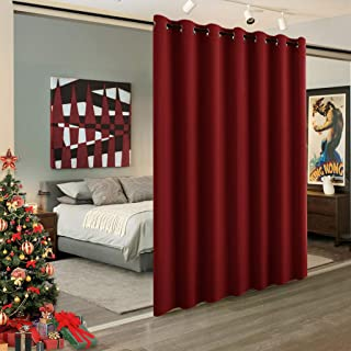 RYB HOME Blackout Room Divider, for Kids, Privacy Curtain Room Darkening Shade for Share Space/Nursery/Bedroom/Kitchen, Wide 100 inches x Long 84 inches, Burgundy Red, 1 Piece