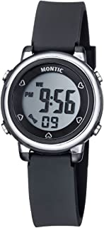 Black Digital Watch, Casual Sports Multi function with Alarm and Stopwatch Water Resistant Montic Watch