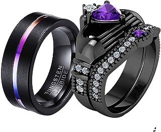ringheart Couple Rings Black Gold Filled Heart Cut Purple Cz Womens Wedding Ring Sets Claddagh Ring Man Tungsten Wedding B...