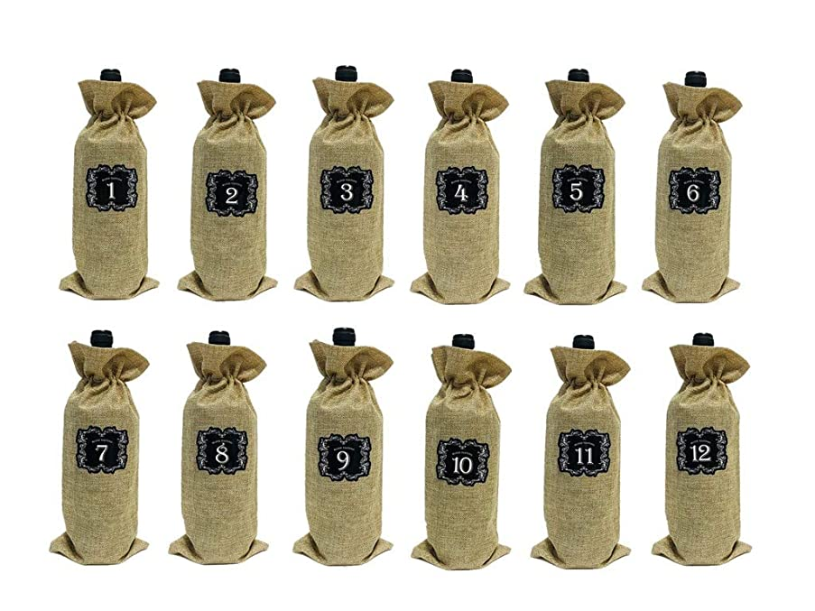 12 PCS Burlap Wine Bags with Drawstring Wine Blind Tasting Bag Plus 12 Number Sticker Bonus For Blind Tasting And Travel, Wedding, Birthday, Housewarming and Dinner Party