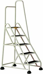 Cramer 1051R-19 Stop-Step Ladder 5 Steps with Right Handrail 45-inch High Top Step, Beige