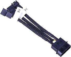 Phobya Adaptor Cable, 4-Pin Molex to 3-Pin 5V/7V/12V (3X Sockets), 10cm, Sleeved, Black