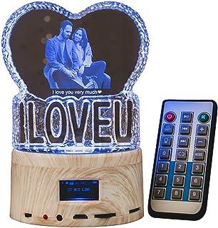 Foto personalizada luz nocturna 3D Love en forma de corazón grabada lámpara de cristal Bluetooth de la música de la lámpara giratoria de color cambiante bola de cristal caja de música regalo