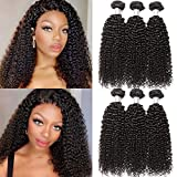B&P Virgin Brazilian Curly Hair Weave 3 Bundles 9A Unprocessed Kinky Curly Weave Human Hair Natural Black Color Remy Hair 16 18 20inches