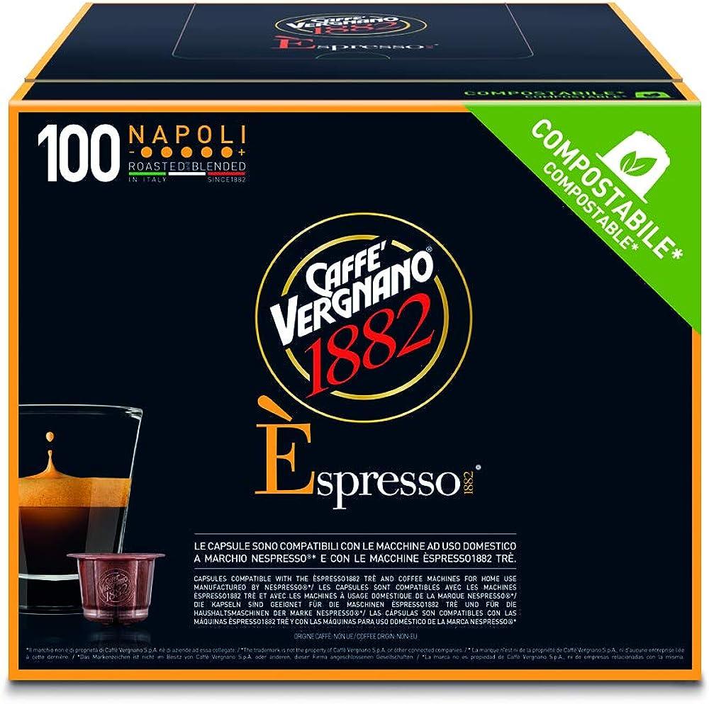 Caffè vergnano 1882, Èspresso caffè,  in confezione da 100 capsule,compatibili nespresso