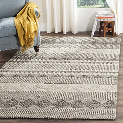 Safavieh NAT102A-8 Natura Collection Handmade and Ivory Wool Area Rug, 8' x 10', Grey