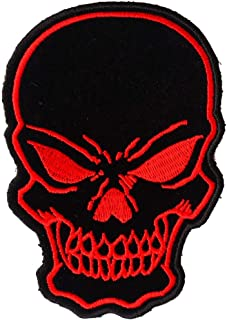 Black and Red Skull Patch - 3x4.25 inch - Embroidered Iron on Patch