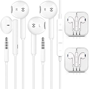 2 Pairs-Apple Earbuds/Headphones/Earphones with 3.5mm Wired in Ear Headphone Plug (Built-in Microphone & Volume Control) Compatible with iPhone,iPad,iPod,PC,MP3/4,Android