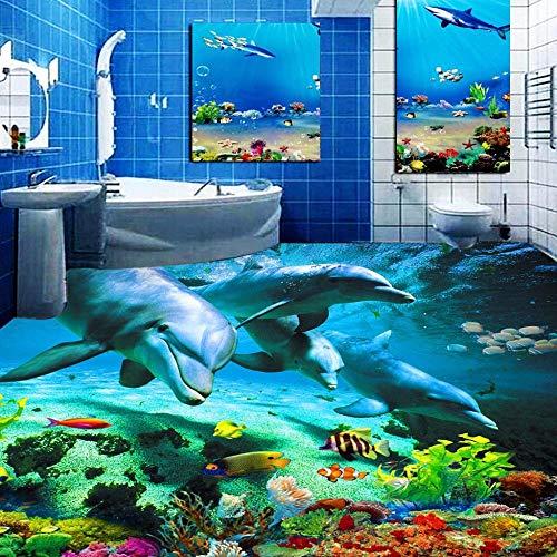 Suelo 3D Suelo impermeable Etiqueta de suelo 3D personalizada Ocean World Dolphin Inodoros Baño Dormitorio Vinilo Suelo Mural Pvc Papel pintado impermeable Pintura Moderno-350 * 245Cm Para cocina Ba