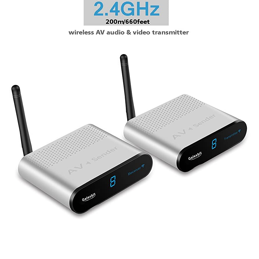 Galexbit Wireless AV Sender Receiver Wireless AV Audio & Video Transmitter Plug and Play AV220 Up to 200m Without Install Any Drivers and Software