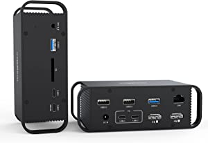 MacBook Pro Docking Station,USB C Laptop Dock,2 HDMI Triple Display, Dual Monitor Thunderbolt 3 4K 60Hz PD 18W Charging for iPhone Mac Hub with 96W AC Power Adapter