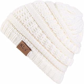 GOVOW Slouchy Cap for Women Boy Girls Warm Crochet Winter Wool Knit Ski Beanie Skull Hat