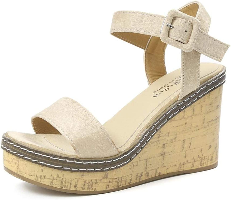 Wallhewb Women Wedges Sandals, Peep Toe Platform High Heels Women Wedge Sandals Buckle Slope Sandals Comfortable Skinny Leg Length Highten Increasing High-Heeled Joker Beige 37 M EU shoes