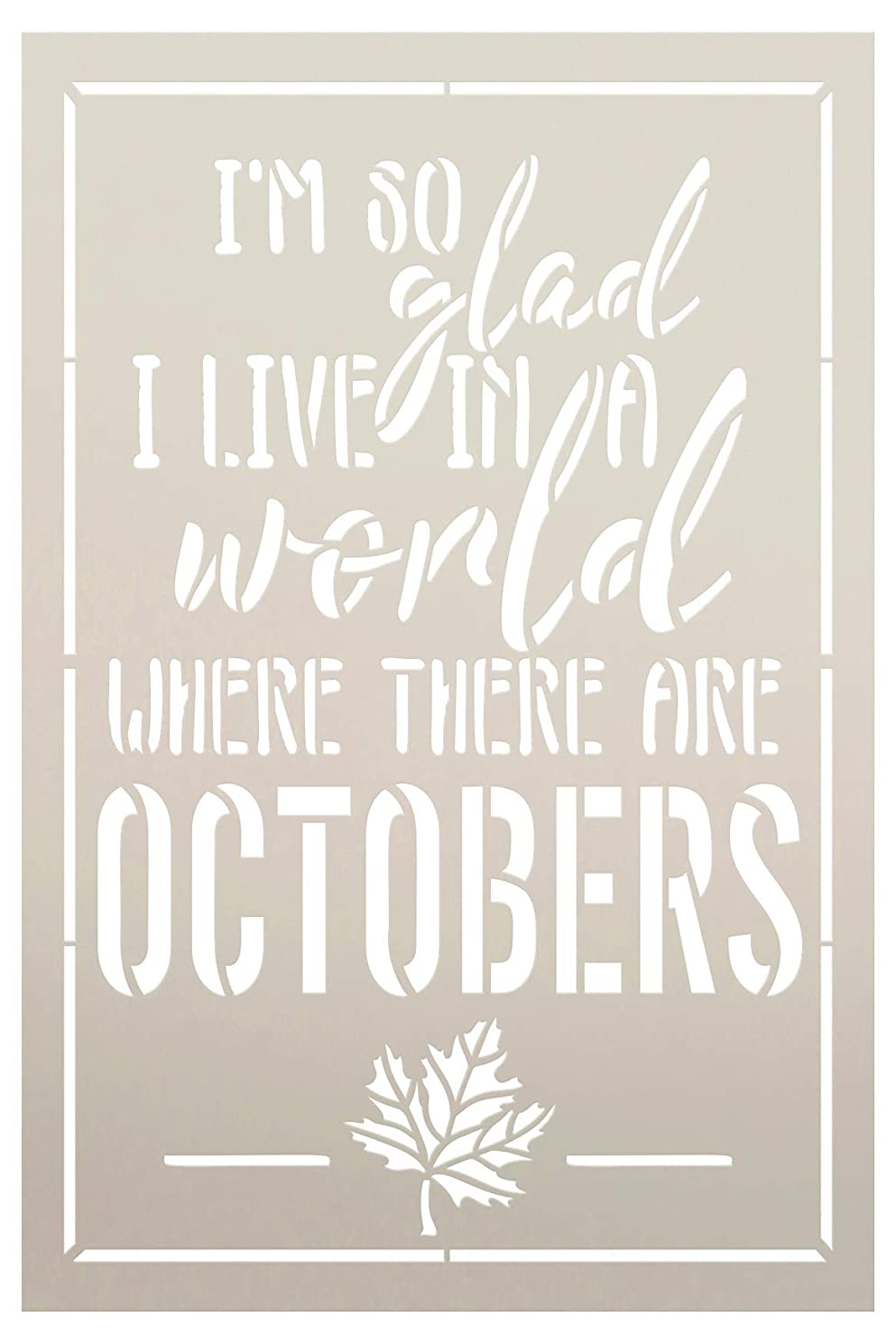A World Where There are Octobers Fall Stencil by StudioR12 | Wood Sign | Reusable Mylar Template | Wall Decor | Multi Layering Art Project | Journal Art Deco | DIY Home - Choose (6