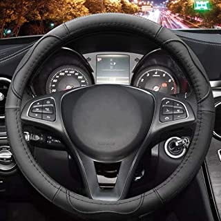 Universal 15 inch Microfiber Leather Auto Car Steering Wheel Cover, Black