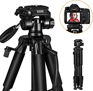 ESDDI Camera Tripod 55''/140cm Portable Lightweight Travel Tripod for Camera with Phone Holder and Quick Release Plate for Canon Nikon Sony Samsung Olympus with Carrying Bag Maximum Load Capacity 11lb