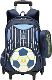 Cartoon Printed Football Trolley Backpack Elementary Book Bag Primary School Bag with Wheels for Kids