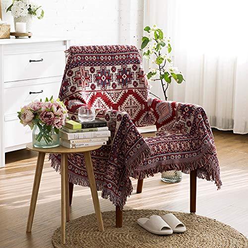 luofanfei Tagesdecke Wohndecke Baumwolle mit Fransen Rot Beige Schlafzimmer Sofaüberwurf Bettüberwurf Boho Stil Geometrisches Muster Sofa überwurf Bett 130x180 cm