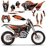 Wholesale Decals MX Dirt Bike Graphics kit Sticker Decal Compatible with KTM SX XCR-W XCF-W EXC XC-W 2007-2011 - Reaper V2 Orange