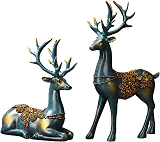 Olpchee 2Pcs Christmas Reindeer Resin Sculpture Individuality Deer Figurine Statue Home Office Decor Statues (Imitation Bronze)