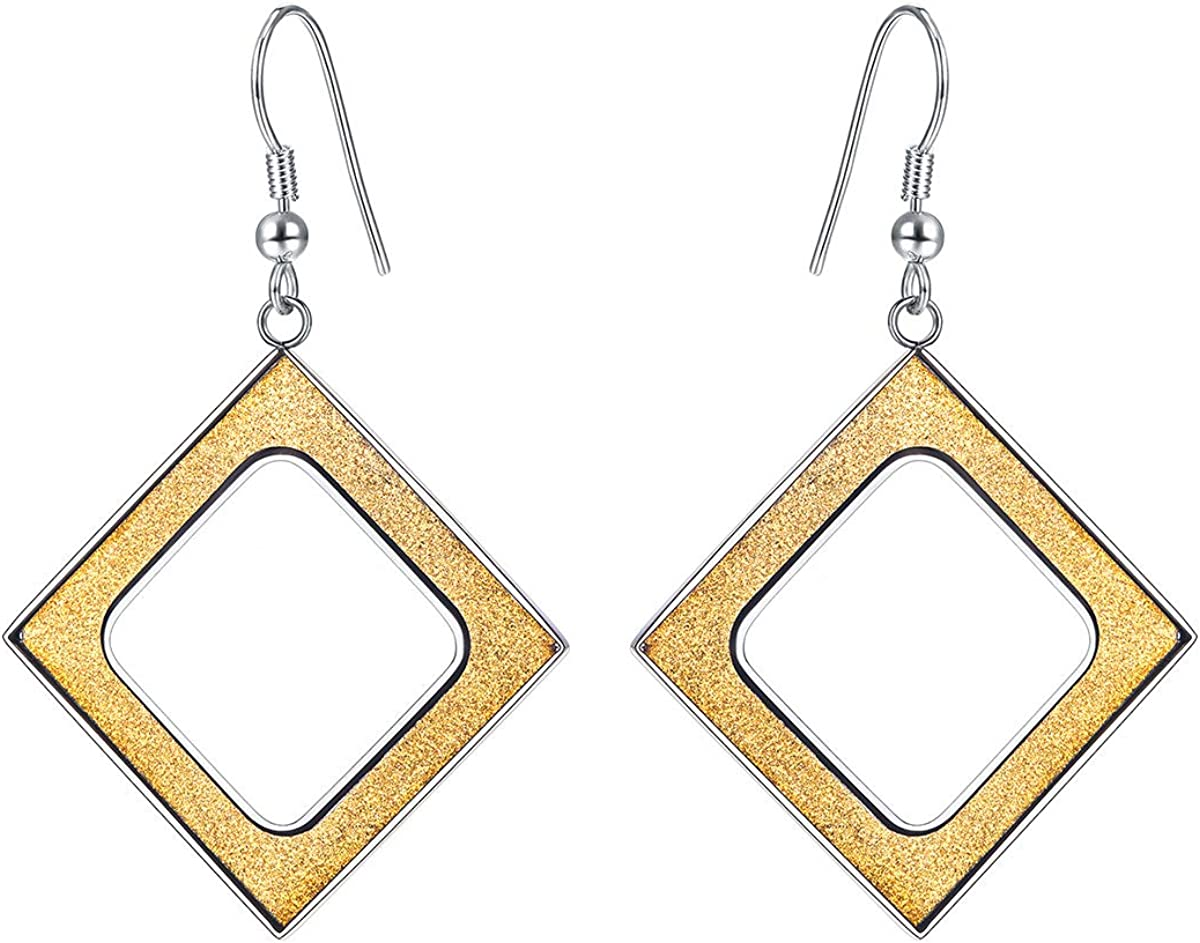 FOCALOOK Women's Gold Plated Geometric Dangle Rhombus Earrings Hollow Cutout Stainless Steel Earrings for Valentines Day