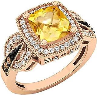 10K 8X7 MM Cushion Gemstone, Round Champagne & White Diamond Ladies Engagement Ring, Rose Gold