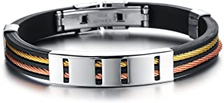 Men's Punk Bracelet Genuine Silicone Bangle Stainless Steel Lock Cuff For Adult