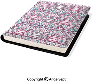 Stretchable Book Covers Online,Ikat Style Abstract Geometric Native American Aztec Inspired Artwork Pink Light Blue Purple,8.7