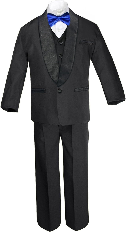 Unotux 6pc Boy Formal Satin Shawl Lapel Suit Tuxedo Royal Blue Bow Tie Baby Teen